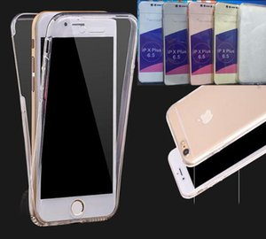 360 градусов полный охват тела Кристалл мягкий TPU чехлы для Iphone 11 XI R XR XS MAX X 10 8 7 Samsung Note 10 PRO спереди + сзади двойной 2in1 крышка