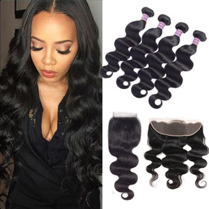 8A Brazilian Virgin Body Wave Hair Weaves 3 Bundles With Closure Unprocessed Virgin Human Hair Bundle With Lace Frontal Hair Extensions