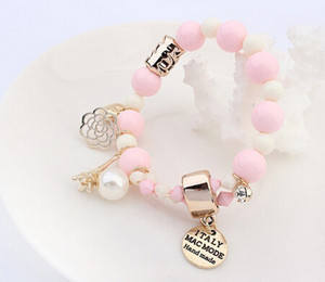 Pas cher Wrap Cuff Charms Cristal Simulé Perle Perles Coeurs Élastique Force Bracelet Pour Femmes Bijoux En Gros