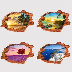 Fond d'écran 3D paysage stickers muraux stéréo personnalité créative stickers muraux PVC fausse fenêtre paysage stickers muraux