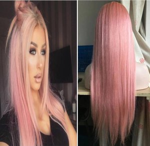 Stocked Ombre Pink Full Lace Wigs Fashion Celebrity Wigs Vigin Cabello humano Ombre Light Pink Ombre Blonde Lace Front Pelucas Envío gratis