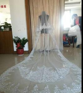 Meilleure vente Veil de mariage blanc d'ivoire 3 mètres de long voiles de longs cristaux Deux couches Cathédrale Longueur Cathédrale pas cher Veil de mariée Vrai Image réelle