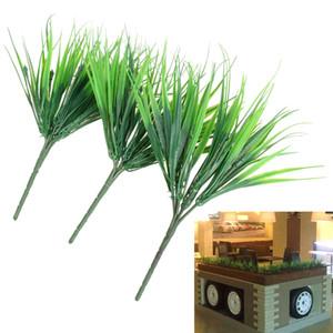 10pcs / lot brique plantes artificielles herbe verte plantes en plastique de simulation pour la décoration de la maison fleur 7 fourche printemps faux herbe feuilles
