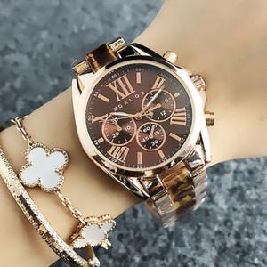 Mode M Design Markenfrauen-Mädchen 3 Dials Art Metallstahlband Quarz-Uhr-M49