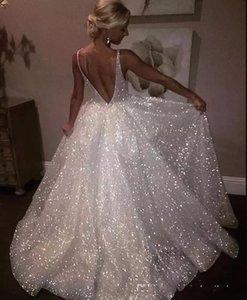 Sparkle paillettes bianco abiti da sera lunghi 2018 profondo scollo av sexy low back abiti da sera lunghi economici pageant abiti di promenade ba7466