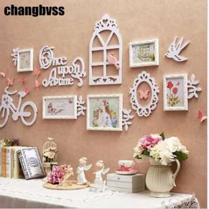 الكورية نمط إطار الصورة مزيج مجموعة 5 قطعة / المجموعة الجدار شنقا الخشب إطار الصورة الجدار ألبوم الصور ل زفاف الأسرة الصورة