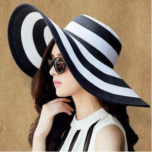 여자 넓은 넓은 챙 모자 여름 비치 밀짚 모자 비치 더비 블루 블랙과 화이트 스트 라이프 모자 모자 선 스크린 밀짚 모자 6 색상