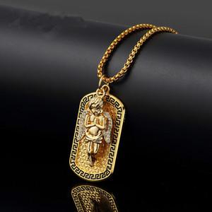 Mode Herren Halskette Günstige Schmuck Street Dance Engel Medaille Anhänger Rock Micro Hip Hop Halskette Für Männer 75 cm Lange Ketten