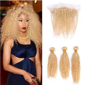 Blonde Spitze Frontal Mit Bundles 613 Freien Mittel 3 Teil 13x4 brasilianischen Afro verworren Curly Jungfrau-Menschenhaar Full Frontal Closure Blass Knot