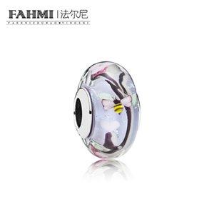 FAHMI 100% 925 Sterling Silver 1: 1 Original Glass Beads 797014 Auténtico Temperament Fashion Glamour Retro Wedding Joyería de las mujeres