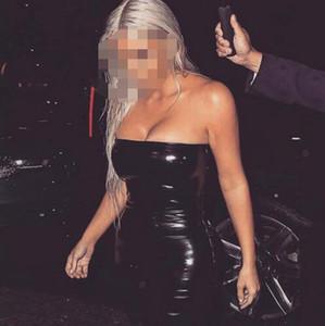 Косплей Хэллоуин костюмы Sexy Slash шеи плеча PVC Твердая Hip Цвет пакет платье партии