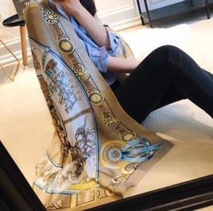 Hot sell brand Women Silk scarf Beach Shawl and Luxurious Wrap Designer scarves Plus Size female beach stole bandana DF01
