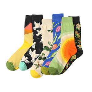 6 Pairs Men Short Happy Socks Tide  Personality Graffiti Hit Color Flower Bird Jacquard Men Socks Breathable Coon Meias