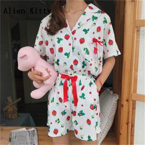 Alien Kitty Kısa Kollu Sashes Pijama Kadın Ev Giyim Sevimli Çilek Baskı Pijamalar2018 Kadınlar Turn-Aşağı Yaka Şort
