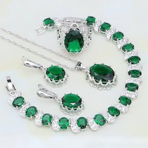 925 Sterling Silver Jewelry Green Rhinestone White CZ Bridal Jewelry Sets For Women Party Ring Earring Pendant Necklace Bracelet