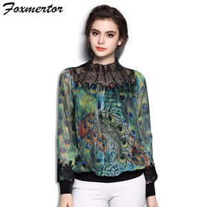 Foxmertor High End Bordado Blusa Camisa Mujeres Elegantes Blusas Florales O-cuello de Manga Larga Señora Tops Camisas Mujeres Blusa # EB0719