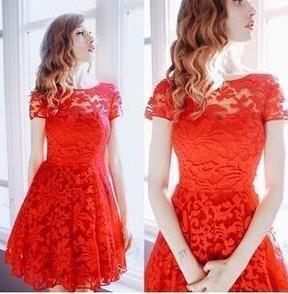 5xl Plus Size Dress Fashion Women Elegant Sweet Hallow Out Lace Dress Sexy Party Princess Slim Summer Dresses Vestidos Red Blue Wholesale