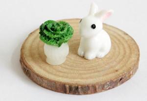 Yaratıcı Karikatür Moss Mikro Peyzaj Süsler Güzel Mini Hayvan Sessiz Reçine Tavşan Bahçe El Sanatları Dekorasyon Aksesuarları