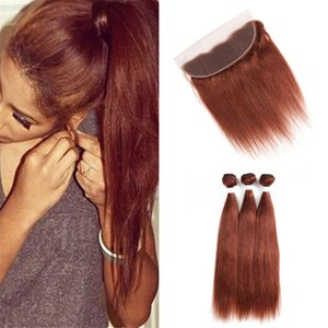 Virgin малазийского Dark Auburn Связка человеческих волос с кружевом фронтального Закрытие шелковистого прямой Цвет 33 Auburn Цвета волос Weave с фронтальным