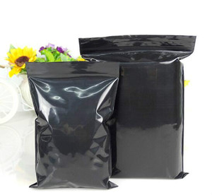 100pcs Black Plastic Ziplock Bag Black Sunproof Zip Packaging Bag PE Plastic Resealable Black Gift Bags