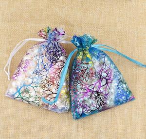 7x9cm imballaggio di gioielli borse di organza disegnabili borse regalo di nozze bianco corallino organza sacchetto regalo sacchetto di cerimonia nuziale di favore del partito