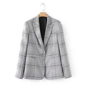Chic Grey - Einschnittkragen - Kontrastfarbenes Plaid - Blazer - Vintage - Damen - Ein - Knopf - Slim - Fit - Short - Anzug - Jackenmantel