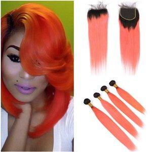 오렌지 Ombre 말레이시아 인간의 머리카락 스트레이트 번들은 클로저 1B / 오렌지 Ombre 버진 헤어 4x4 레이스 클로저 5Pcs 로트 직물과 4PCS