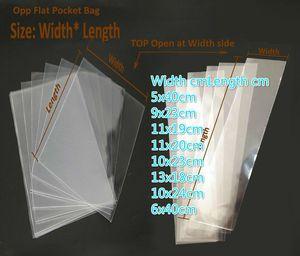 400pcs / lot 오픈 상단 투명 Opp 플랫 포켓 화장품 선물을위한 명확한 비닐 봉지 포장 사탕 도구 장난감 펀치