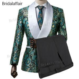 Wonderful New Designs Custom Made Tuxedo Tuxedo Vert Imprimé Floral Hommes Costume Pour Mariage Mariage Costumes Ensemble 2 Pcs (Veste + Pantalon Noir)