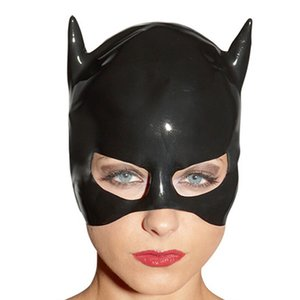 2018 hot exotic New Rushed unisex rubber Women Latex Catsuit Costume Sexy black unisex Latex 3D Hoods Open face hat Mask