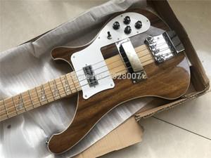 Custom shop nogueira corpo 4003 guitarra baixo; através de maple pescoço constuction;