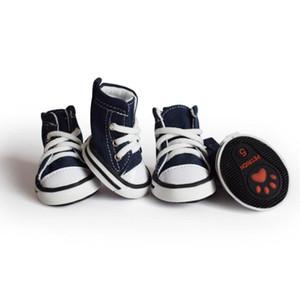 4pcs scarpe cane da compagnia in denim antiscivolo impermeabile scarpe da ginnastica sportive stivaletti traspirante per cani piccoli cuccioli di cani