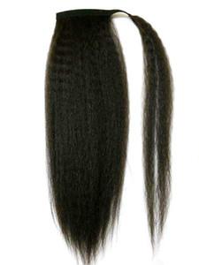 Human Hair Ponytail Kinky Caarse Chairfieces Virgin Brazilian Волосы натуральный удар kinky Yaki прямая обертка вокруг хвостовиков наращивание волос