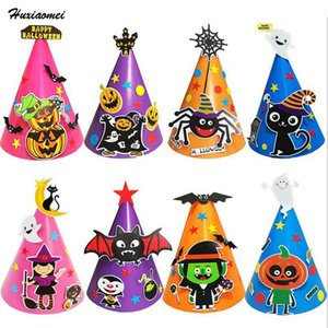 Huxiaomei Cadılar Bayramı Şapka Fantezi Elbise Parti Kostüm Kap Parti Dekor Çocuklar Yetişkin Giyinmek için Cadılar Bayramı Kostüm Kafa Aksesuarı