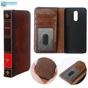 Caja del teléfono celular de cuero flip para LG Q7 Funda Cartera Libro de la vendimia de la biblia retro Business Pouch
