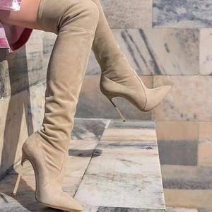 Botas de invierno Mujer Beige Estiramiento de gamuza negro Hasta el muslo Botas altas Punta estrecha en punta Muslo Botas altas Tacones altos Botas para mujer Paseo de gato Zapatos para mujer