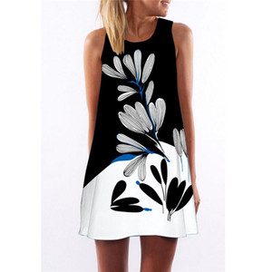 2018 sommerkleid frauen floral druck kleid ärmellosen boho stil kurze digital strand kleid sommerkleid casual schiedrigkleider vestido
