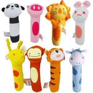 8 Styles Baby Stuffed Toys Cartone animato animale testa neonato Grap peluche con dispositivo BIBI Stick IQ sviluppo mano burattino
