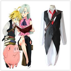 Anime Yedi Ölümcül Günah Cosplay Kostüm Meliodas Ejderhanın Günah Gazabı Gömlek + Yelek + Pantolon + Kravat Tam Set Üniformaları