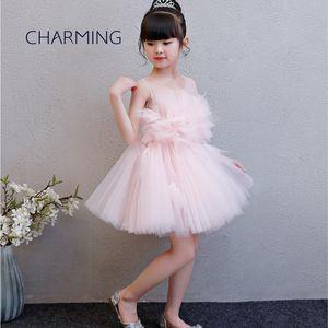 Childrens rosa Kleider Kleid Kleider für Kinder Big Mädchenkleider Öffnungszeit Graduierung Tutu Kleid Klavier Leistung