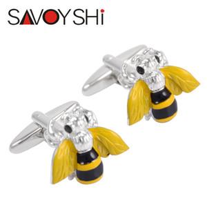 SAVOYSHI Trendy 3D Bee Manschettenknöpfe für Herren-Hemd-Stulpe-Bottons Qualitäts-Emaille-Insekt Manschettenknöpfe Mode-Marken-Männer Schmuck Geschenk