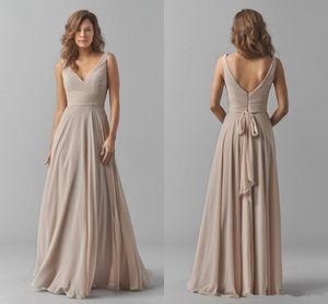 Sexy V-cou sans manches-parole longueur robes de demoiselle d'honneur en mousseline de soie avec volant pas cher robe de soirée de mariage sur mesure plus la taille