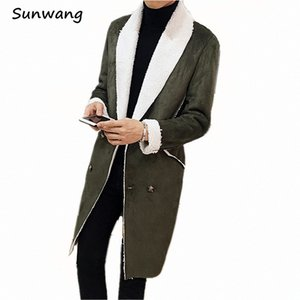 Wholesale-2017 Winter Harajuku Casual Thick Warm Trench Suede Coats Man Broadcloth Suede Leather Mens Faux Fur Coat Motorcycle Long Jacket