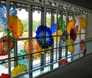 100% a mano in vetro di Murano soffiato Piastre Hanging Wall Art Dale Chihuly stile vetro borosilicato soffiato a mano Arte Piastre Blue Flower Glass Wall Art