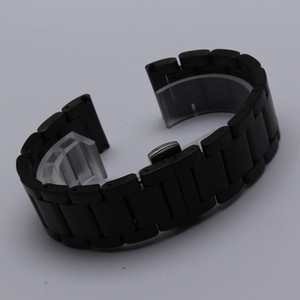 High Quality Stainless Steel Watchband Silver Black Bracelet 20mm 22mm Solid links Band for smart wrist band replacement straps
