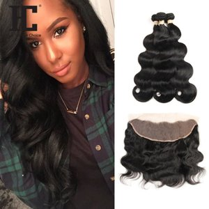 HC Hair Brazilian Body Wave Human Hair Bundles 3 Bundles With Lace Frontal Remy Hair Weave Bundles 13x4 Frontal