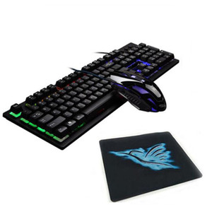 Teclado de retroiluminação e combinação de mouse teclas de suspensão e luzes do arco-íris óptico Gaming Keyboard USB com fio para Desktop Laptop 3 peças G20