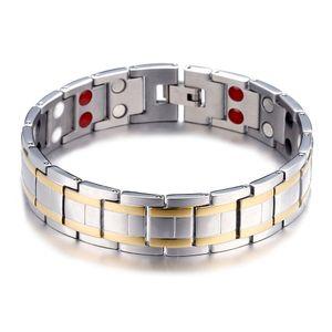 Classy Steel Herren Schmuck Magnetische Energie Link Armband Starke Magneten Germanium Gesunde Medical Alert ID Armbänder für Männer Power Armband