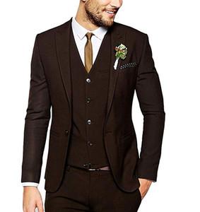 Nova Moda Dark Brown Mens Terno Slim Fit Noivo Smoking Um Botão Melhor Homem Blazer (Jacket + Pants + Vest)