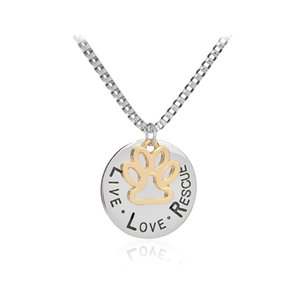 Ins Trendy Sunshine Live Love Rescue letter Love Word collana amante dei cani Cat Dog Paw Print Pendant Necklace Mothers Day new fashion